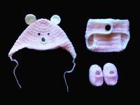 0-3 Months Hand Crochet Knit Baby Girl Photo prop Outfit Diaper Cover Hat Shoes