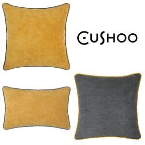 Mustard Yellow Cushion Dark Grey Piping Oblong Sofa Throw Top Pillow Case Cover