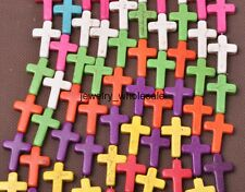 10pcs Mixed color Howlite Turquoise Beads Loose Cross Spacer Beads 24x18mm