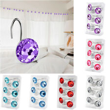 12 Pcs Shower Curtain Hooks Pack Decorative Crystal Rhinestone Hook For Bathroom