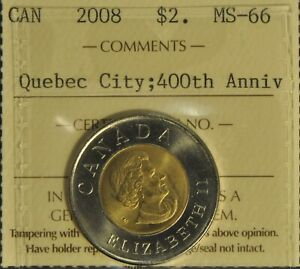 Canada 2008 Quebec City Two Dollar - ICCS - MS66 -