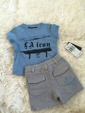 Nwt Juicy Couture Infant Baby Boy Moody Blue Grey Shirt & Shorts Set 0-3M