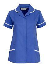 WOMENS NURSES HEALTHCARE TUNIC, DENTAL SALON,  HOSPITAL BLUE SIZES 8-24 INS31HB