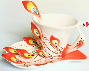 Peacock Porcelain Coffee Tea Cup Gift Set Saucer Cup Spoon Amazing Color Flame