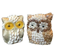 Pair of Vintage Owl Seashell and Rope Figurines Seashell Owl 3""