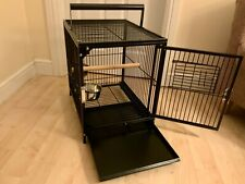 Parrot-Supplies Premium Travel Cage - Black - With Bowls & Wooden Perch.