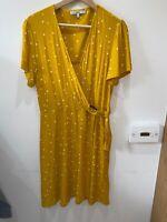 Next ochre mustard yellow spotty summer jersey mock wrap dress14 knee length