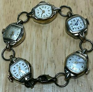 Watch Bracelet~5 Lady Cocktail Wind Up Watches Lot~Timex~Westfield~Helbros~Grant