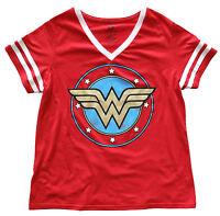 Wonder Woman Gold Foil Logo Juniors/Womens Varsity V-Neck Shirt Plus Sizes New