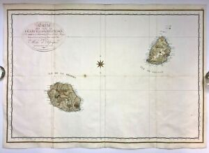 REUNION & MAURITIUS ISLANDS 1804 BORY DE ST VINCENT VERY LARGE NICE ANTIQUE MAP