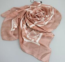 NEW Authentic Gucci Horsebit Print Large Silk Scarf Dust Pink/White, 297195