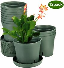 Plant Pots, ZOUTOG 6 inch Plastic Pots for Plants with Drainage Hole, Pack of 12