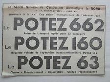 11/38 PUB SNCAN AVION POTEZ 63 CHASSE BOMBARDEMENT POTEZ 662 160 ORIGINAL AD