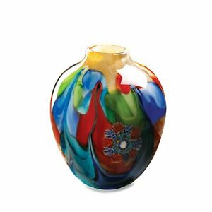 """NEW Decorative Floral Fantasia Art Glass Hand Crafted Vase 9"""" Tall Multi-Color"""