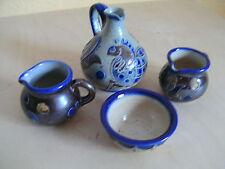 Schoenes Set : 2 Kännchen , 1 Vase , 1 Schälchen Blau    Herkunft:  ? Bunzlau ?
