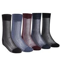3Pairs Vintage Classic Men Gentlemen Striped Jacquard Sheer Nylon Dress Socks