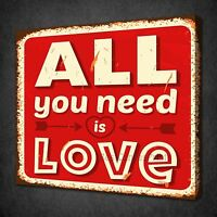INSPIRATIONAL QUOTE ALL YOU NEED IS LOVE BOX CANVAS PRINT WALL ART PICTURE