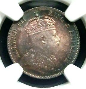 NGC MS65-Hong Kong 1904 Edward VII Silver 10 Cents GEMBU RARE