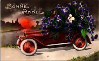 Vintage - Bonne Annee - Flowers Car - vintage - color - Postcard