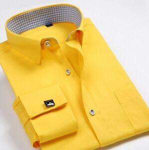 Mens Long Sleeves Dress Shirts French Cuff Formal Business Work Cufflinks Shirts