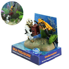 Aquarium Ornament Decor Treasure Hunter Chest Diver Fish Tank Air Action