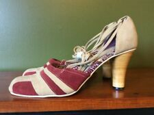 C-Label By Turbo Cat High Heel Shoes Maroon Tan Leather Suede Sandals Women's 9M