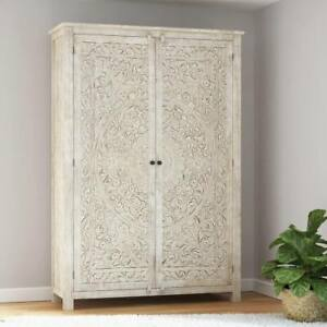 Furniture BoutiQ Conch Handcarved Weathered Solid Wood Large White Wardrobe