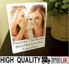 "7x5"" Personalised Wooden Photo & Quote Block Friendship Best Friend Present Gift"