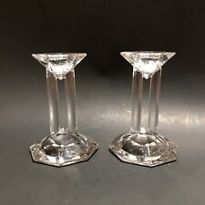 "New Lenox Ovations Synchronicity 4"" Candlestick Pair Germany Clear Box L Crystal"