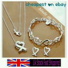 UK seller 925 stamped silver heart set lover friend lady birthday mother gift +