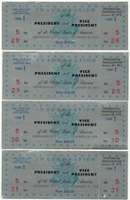 More details for president nixon/agnew 1973 inauguration 4 consecutive silver tickets with stubs