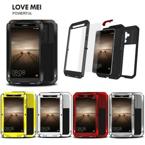 LOVE MEI Glass Silicone Metal Waterproof Shockproof Cover Case for Huawei Mate 9