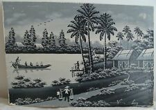V. Long Oil Painting on Silk Asian Landscape with Figures Black White Antique