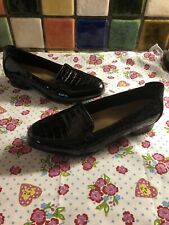 CLARKS Artisan Ladies Black Patent Leather Mock Croc Loafers Shoes UK Size 7
