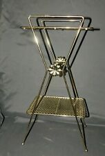 """Hollywood Regency Plant Stand Brass 22"""" Tall  2 Tier"""