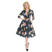 Hearts & Roses London Deepest Green Vintage Retro 1950s Floral Flared Tea Dress
