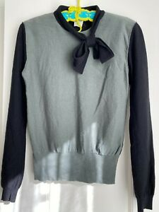 Sonia Rykiel Modern Vintage Sweater Wool Cashmere Pussy Bow Bicolor Size M