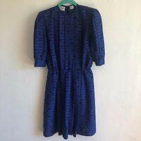 Albert Nipon half Sleeve Button Back Blue Dress Women's Size 2 no slip
