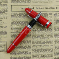 Deluxe Steel Jinhao 159 Red And Silver Trim Medium Nib Smooth Fountain Pen