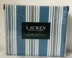 Ralph Lauren CAL KING 4 PIECE SHEET SET BLUE STRIPES 100% COTTON HOME DECOR RL