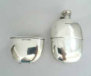 George V Hallmarked G. & J. W. H. Sheffield 1898 Sterling Silver Hip Flask & Cup