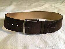 """Prada Brown Suede 2.25"""" Belt with Large Silver Buckle Sz 32 EUC"""