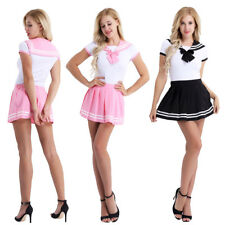 2pcs Japanese Women Cosplay Sailor Uniform Suit Girl Romper Pleated Skirt Outfit
