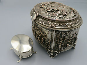 Antique Solid Silver Jewel Box And Embossed Hunting Casket