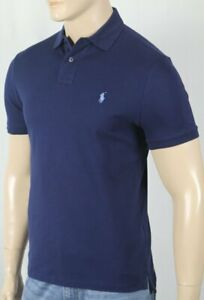 Polo Ralph Lauren Navy Custom Slim Fit Stretch Mesh Short Sleeve Shirt Blue Pony