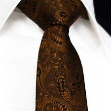 NUOVA linea uomo Cravatta Marrone Oro Caramello Bronzo Matrimonio Seta Floreale Paisley Regalo