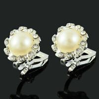 Bequeme Clip On Creme Perlen und Strass Kristall Rund Bolzen Silber Ohrringe