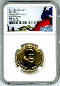 2020 P GEORGE H. W. BUSH PRESIDENTIAL DOLLAR NGC MS67 PL PROOF LIKE FR TOP POP=3