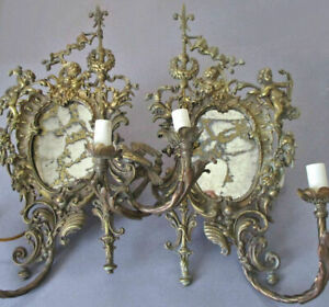 "Pr Antique Ornate 17"" FIGURAL Bronze 2-Light SCONCES Venetian MIRRORS Cherubs +"