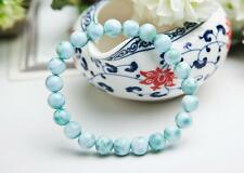 8mm Natural Blue Larimar Gemstone Water Pattern Woman Bracelet AAA